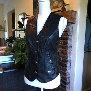 New Harley-Davidson Black Leather Vest Size XS